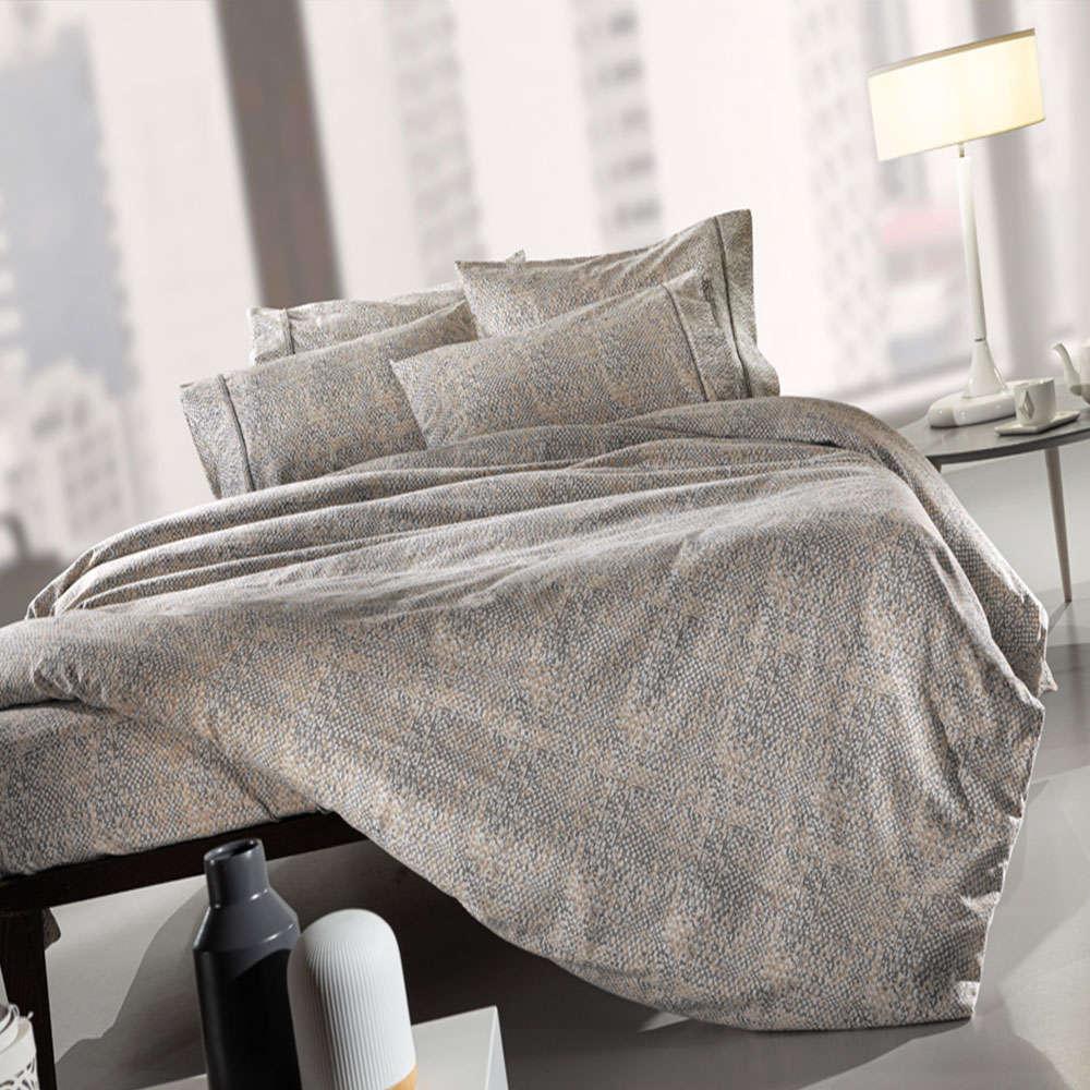 Σεντόνια Mouare Flannel Σετ 4τμχ Beige-Grey Guy Laroche Υπέρδιπλo 240x265cm
