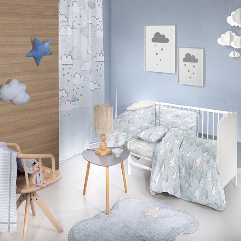 Σεντόνια Βρεφικά Cloudy Σετ 3τμχ Light Blue Guy Laroche Κούνιας