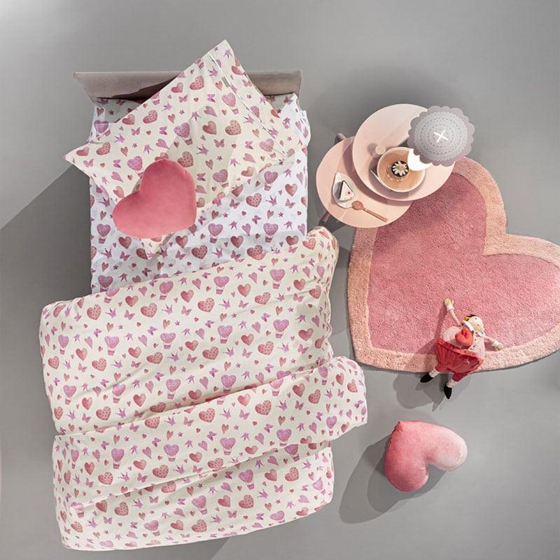 Σεντόνια Παιδικά Sweet Heart Σετ 3τμχ Pink Guy Laroche Μονό