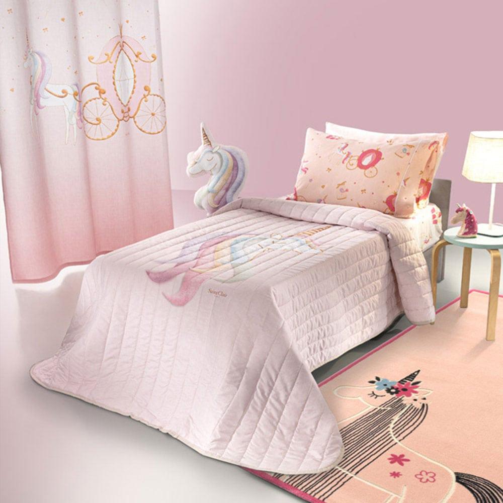 Κουβερλί Παιδικό Cinderella Suede Pink Saint Clair Μονό