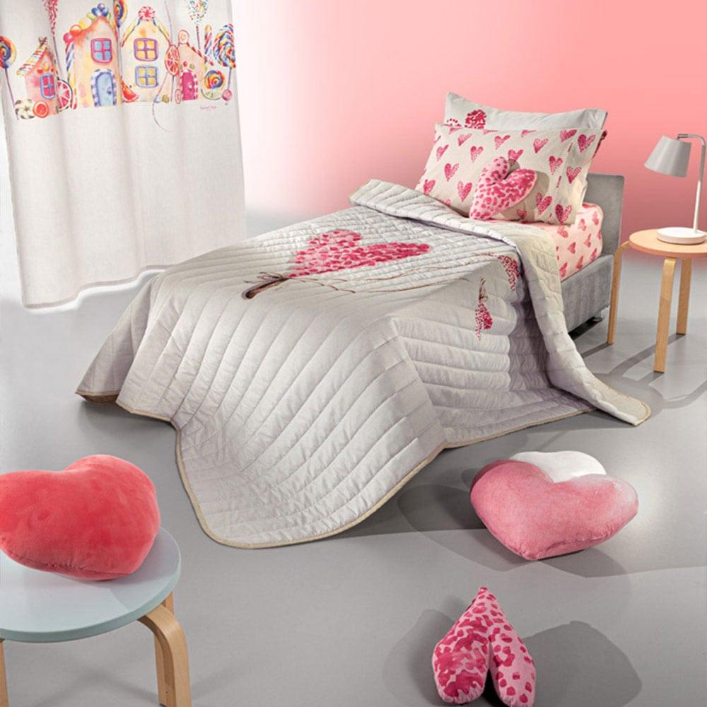 Κουβερλί Παιδικό Lollipop Suede Ecru-Pink Saint Clair Μονό