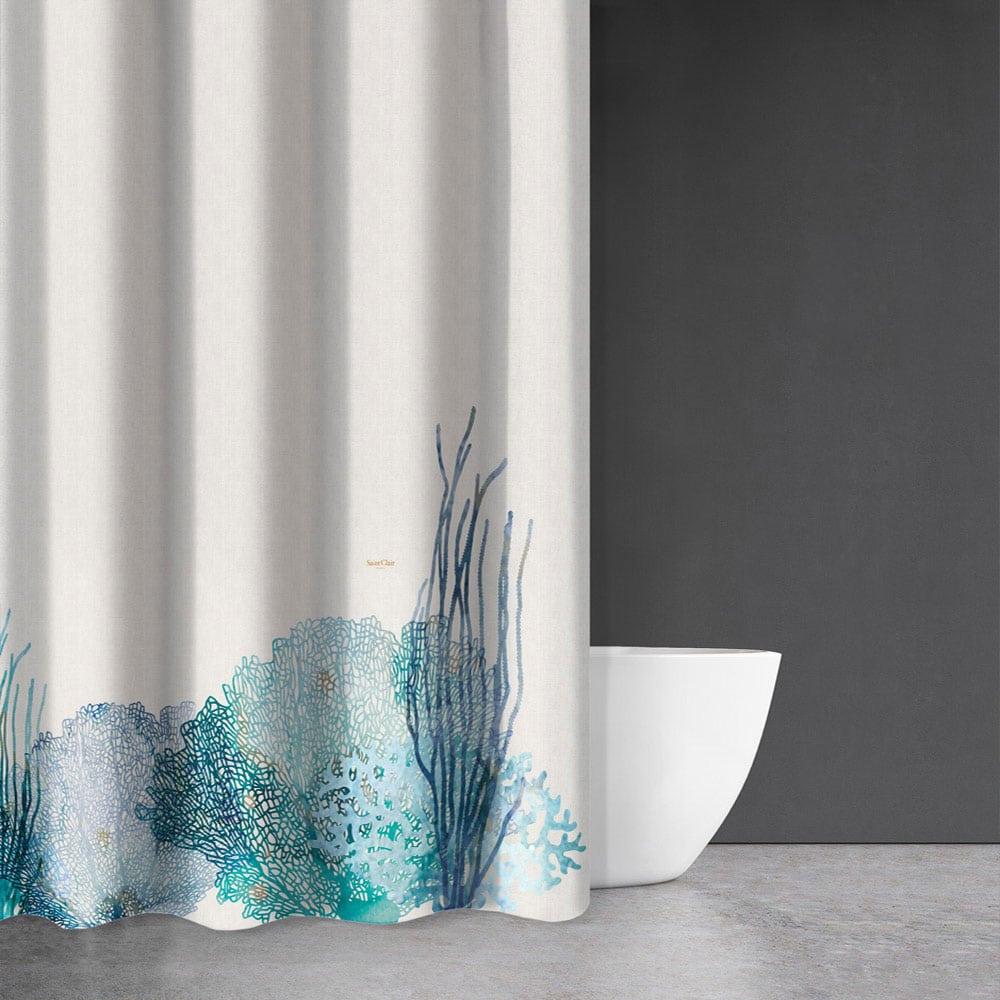 Κουρτίνα Μπάνιου Seawater Des 620 Ivory-Blue Saint Clair Φάρδος 200cm