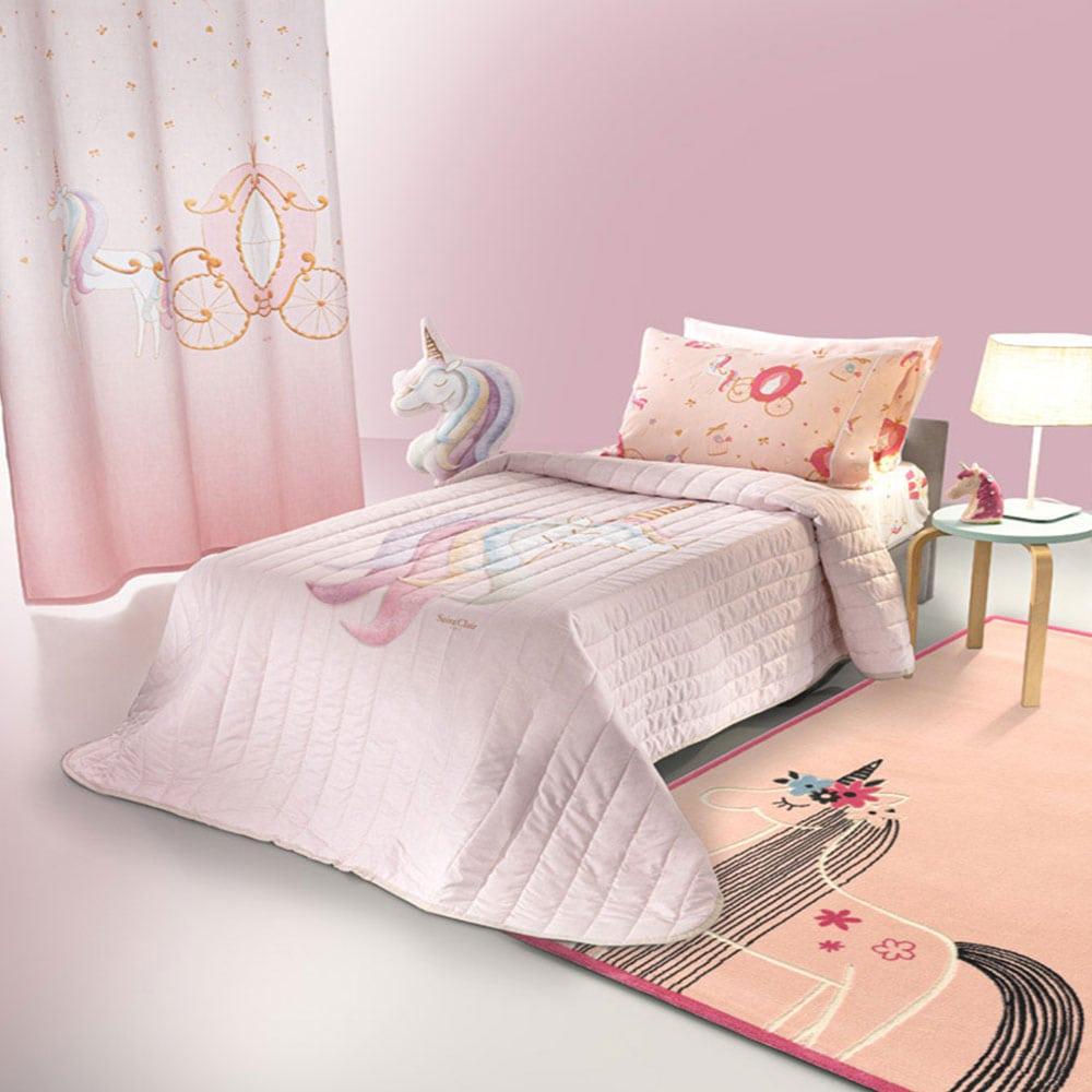 Πάπλωμα Παιδικό Cinderella Suede Pink Saint Clair Μονό