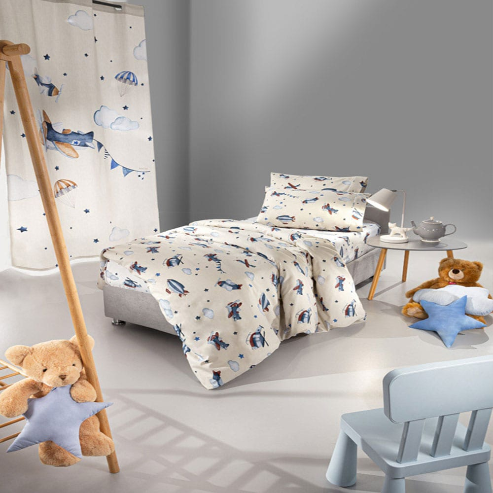 Παπλωματοθήκη Παιδική Σετ 2τμχ Demo Beige-Blue Saint Clair Μονό