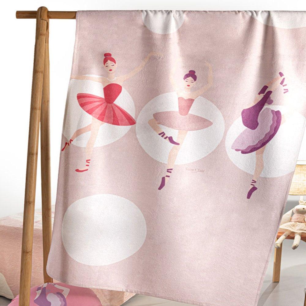 Πετσέτα Θαλάσσης Παιδική Velour Ballerinas Pink Saint Clair Θαλάσσης
