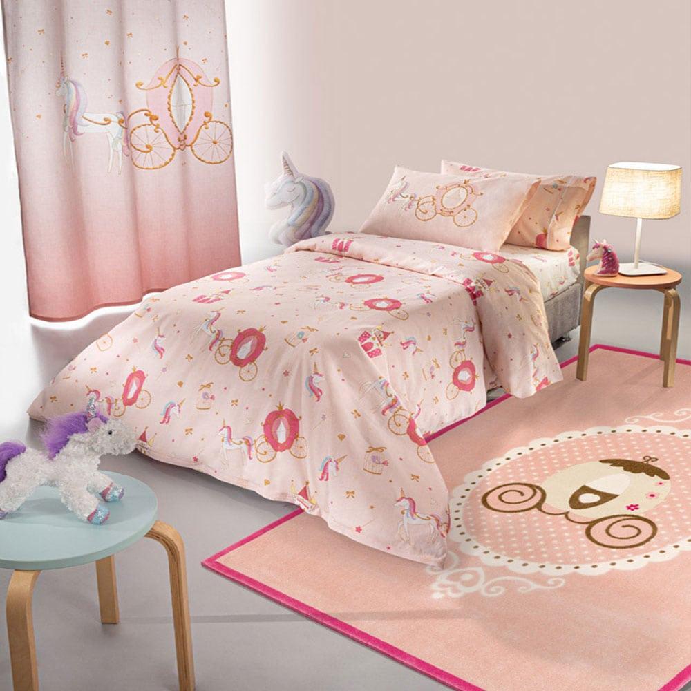 Σεντόνια Παιδικά Σετ 3τμχ Cinderella Pink Saint Clair Μονό