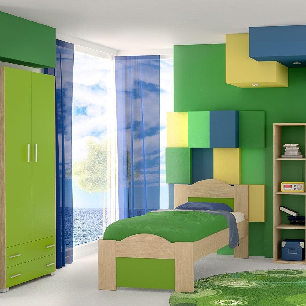 Κρεβάτι Παιδικό Νο. 48 Wave 110×190 Oak-Green Ημίδιπλο