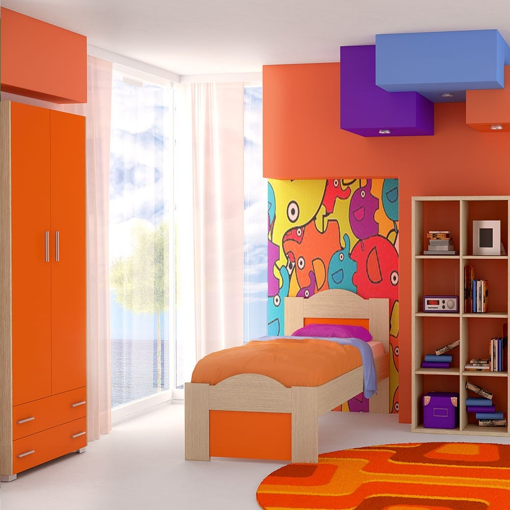 Κρεβάτι Παιδικό Νο. 48 Wave 110×190 Oak-Orange Ημίδιπλο