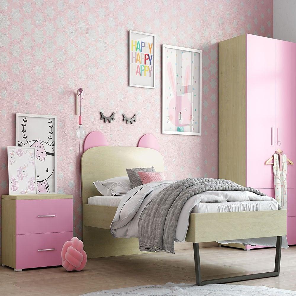 Κρεβάτι Παιδικό Νο. 91C Korona 90×190 Με Ημικύκλιο 93 Oak-Pink Μονό