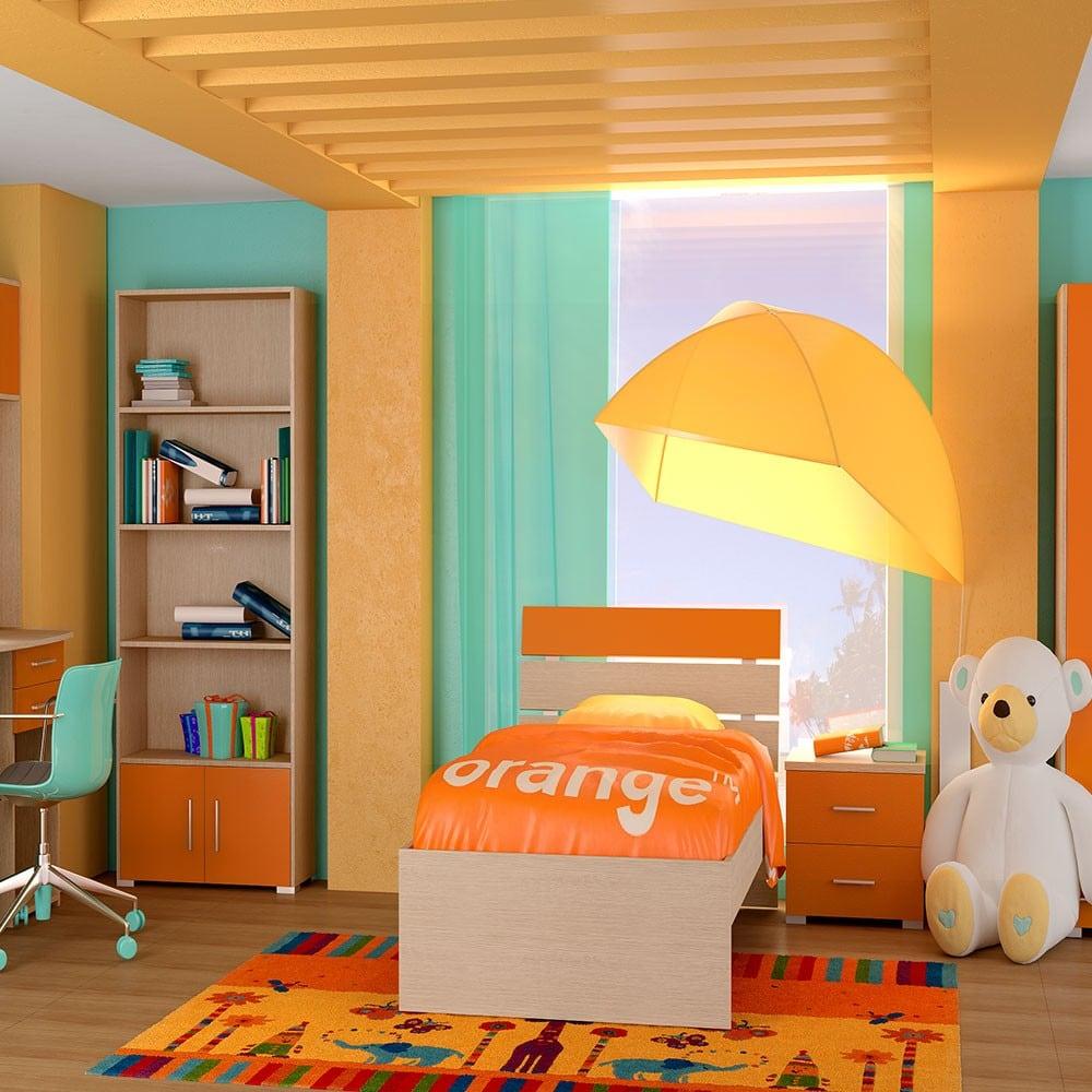 Κρεβάτι Παιδικό Νο. G51 Nota 90×190 Oak-Orange Μονό