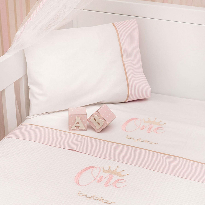 Κουβέρτα Βρεφική Πικέ Design 83 One Pink Byblos Κούνιας 100x140cm