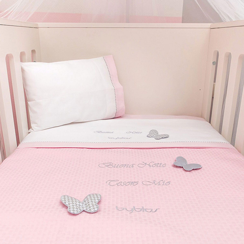 Κουβέρτα Βρεφική Πικέ Design 84 Butterfly Pink Byblos Αγκαλιάς 80x100cm