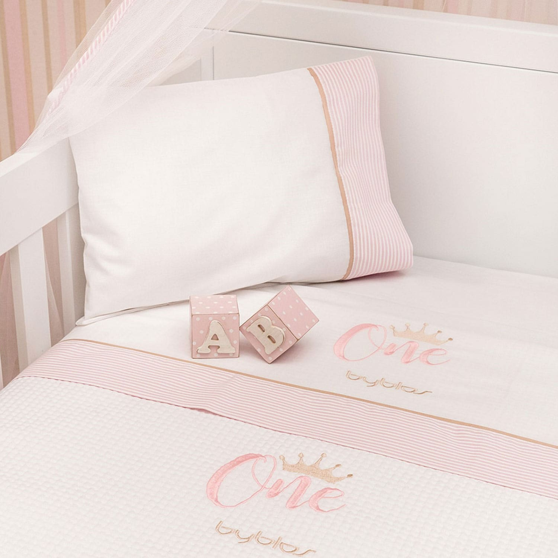 Σεντόνια Βρεφικά Σετ Design 83 One Pink Byblos Κούνιας 110x160cm