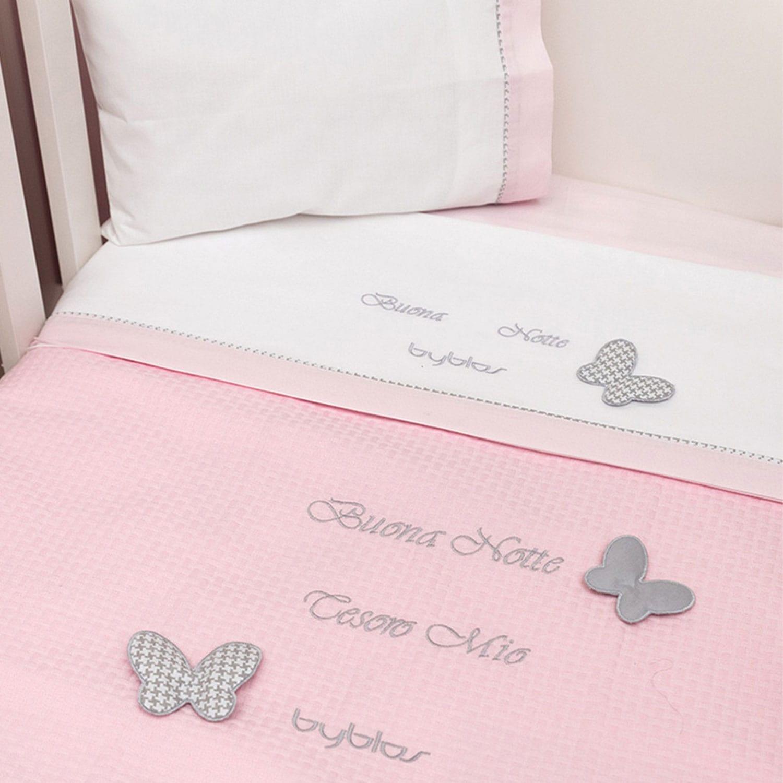 Σεντόνια Βρεφικά Σετ Design 84 Butterfly Pink Byblos Λίκνου 75x100cm