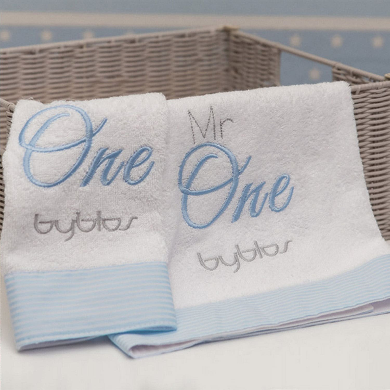 Βρεφικές Πετσέτες Σετ Design 82 One Blue-White Byblos 2τεμ Σετ Πετσέτες 30x50cm