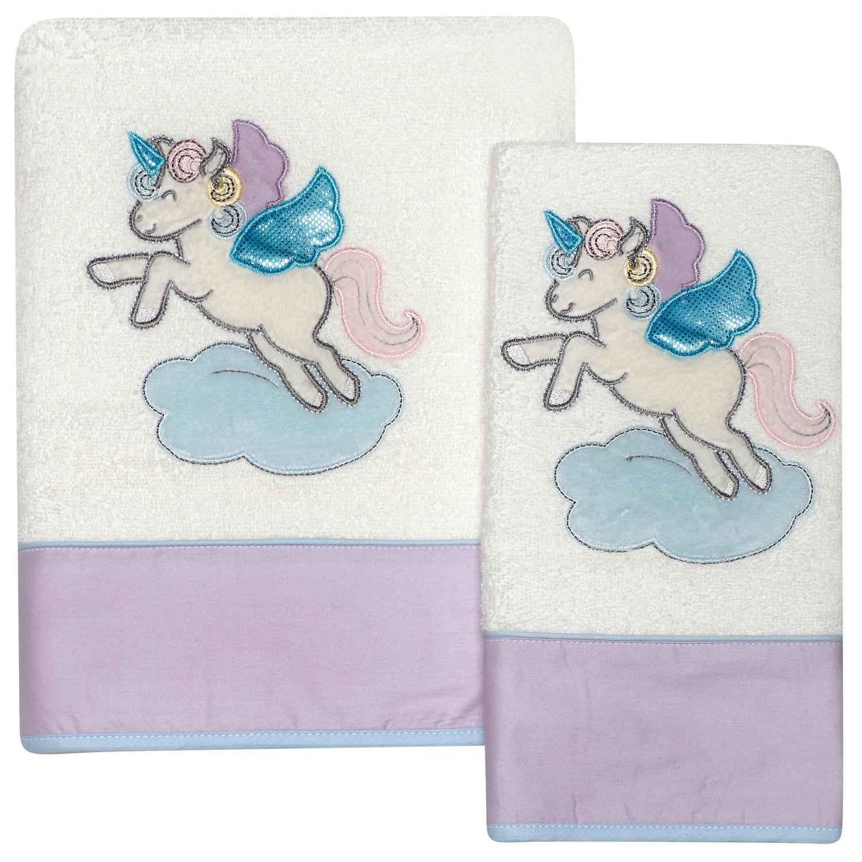 Βρεφικές Πετσέτες Κεντητές Σετ 6463 2τμχ Baby Dream Embroidery Das Baby Σετ Πετσέτες 70x130cm