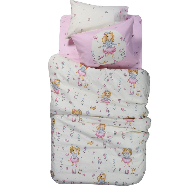 Κουβερλί Παιδικό Roller Girl White – Pink Nef-Nef Μονό 160x240cm