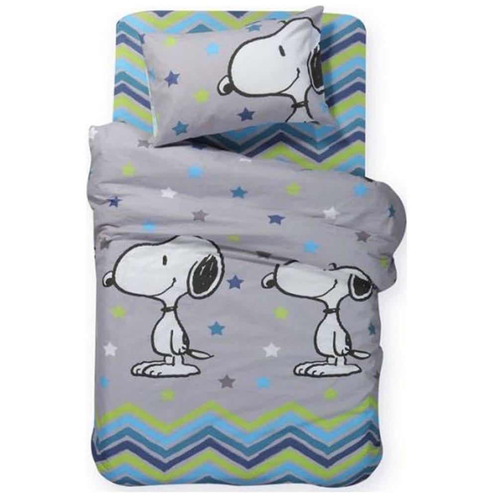 Παπλωματοθήκη Παιδική Snoopy Mood Σετ 2τμχ Grey Nef-Nef Μονό 160x240cm