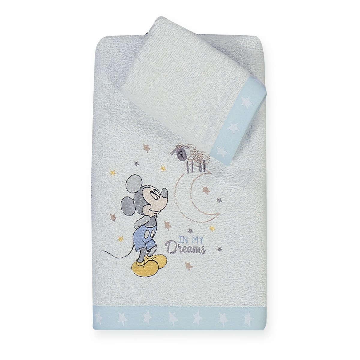 Πετσέτα Βρεφική Mickey's Dreams 2τμχ White – Light Blue Nef- Nef Σετ Πετσέτες