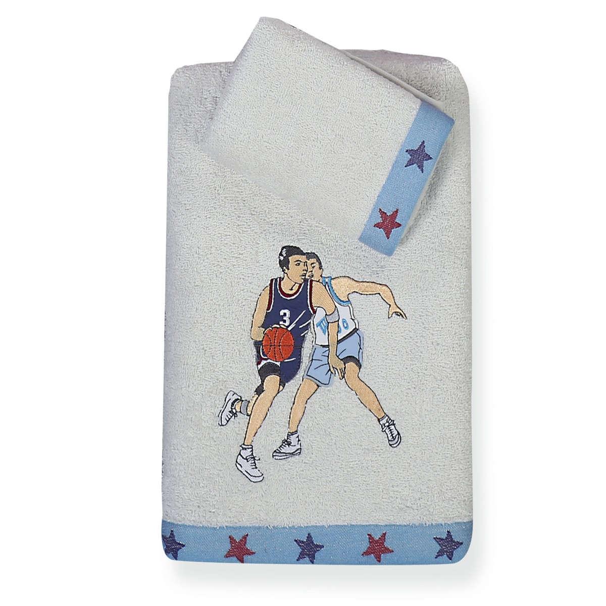 Πετσέτα Παιδική Basketball 2τμχ White – Blue Nef-Nef Σετ Πετσέτες