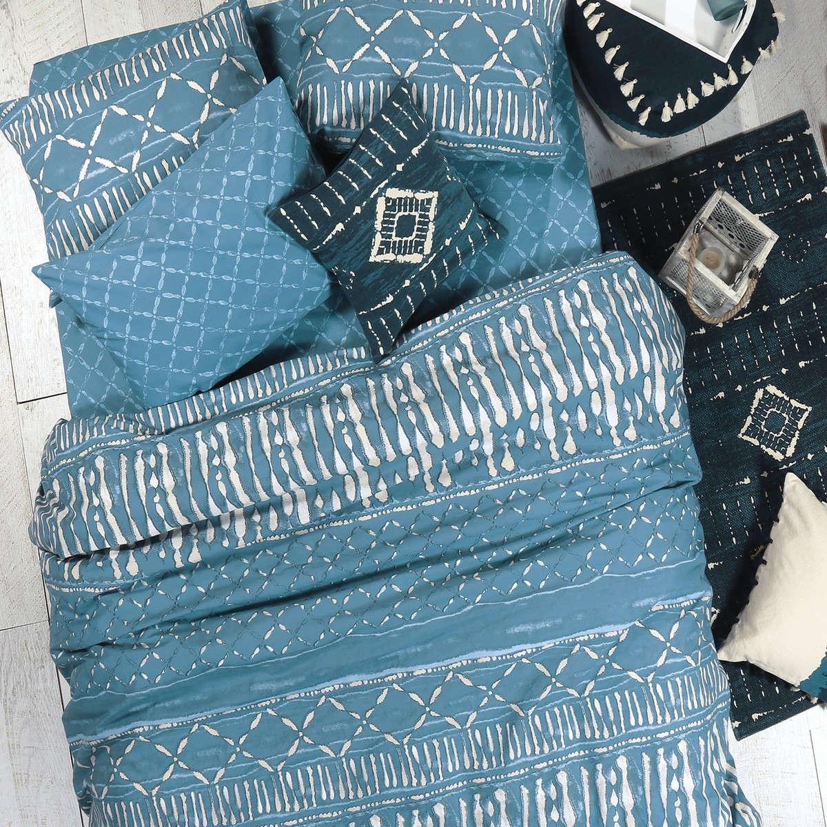 Σεντόνια Σετ 4Τμχ. Batik Blue Nef-Nef Διπλό 200x260cm