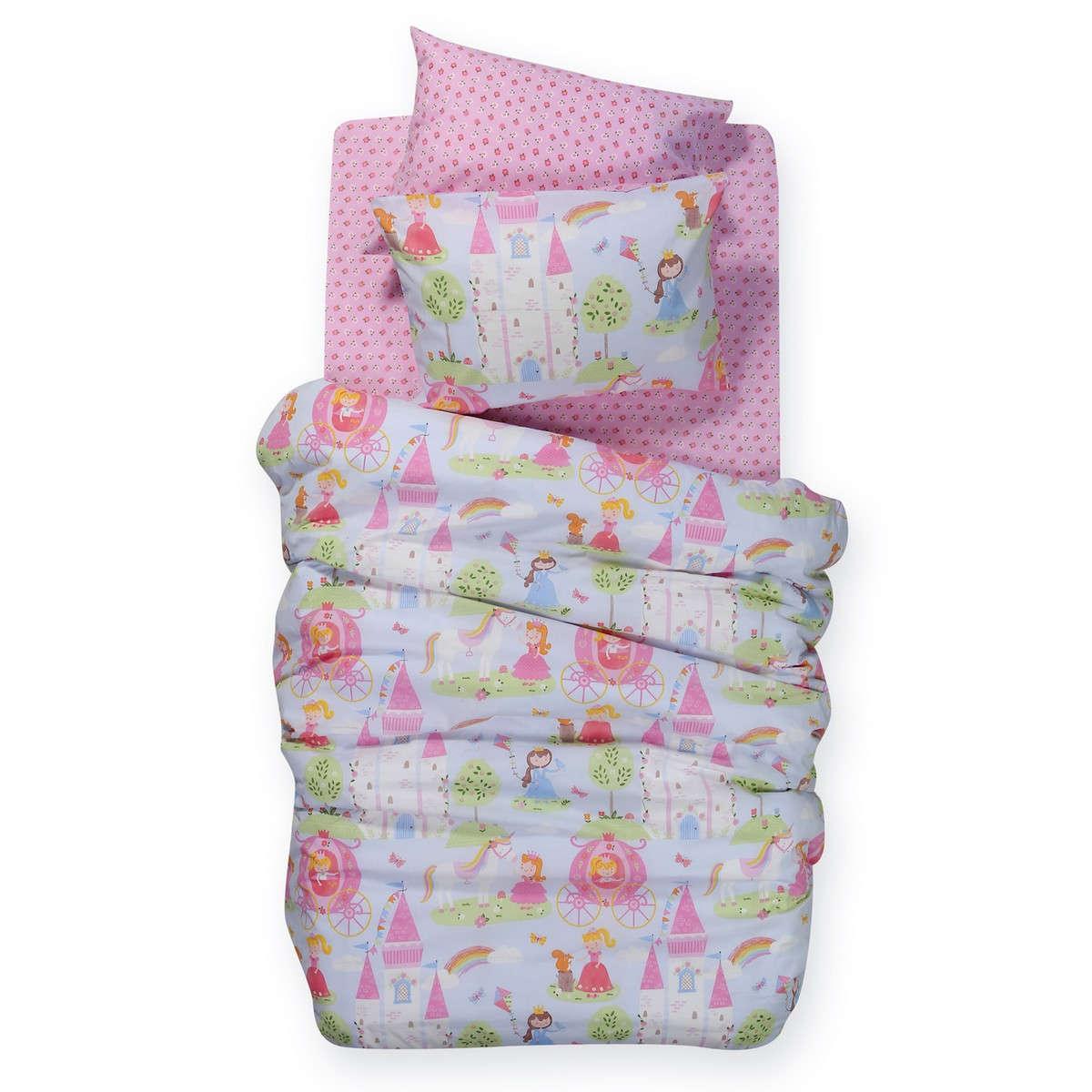 Σεντόνι Παιδικό Cute Kingdom Σετ Pink Nef-Nef Μονό 160x260cm