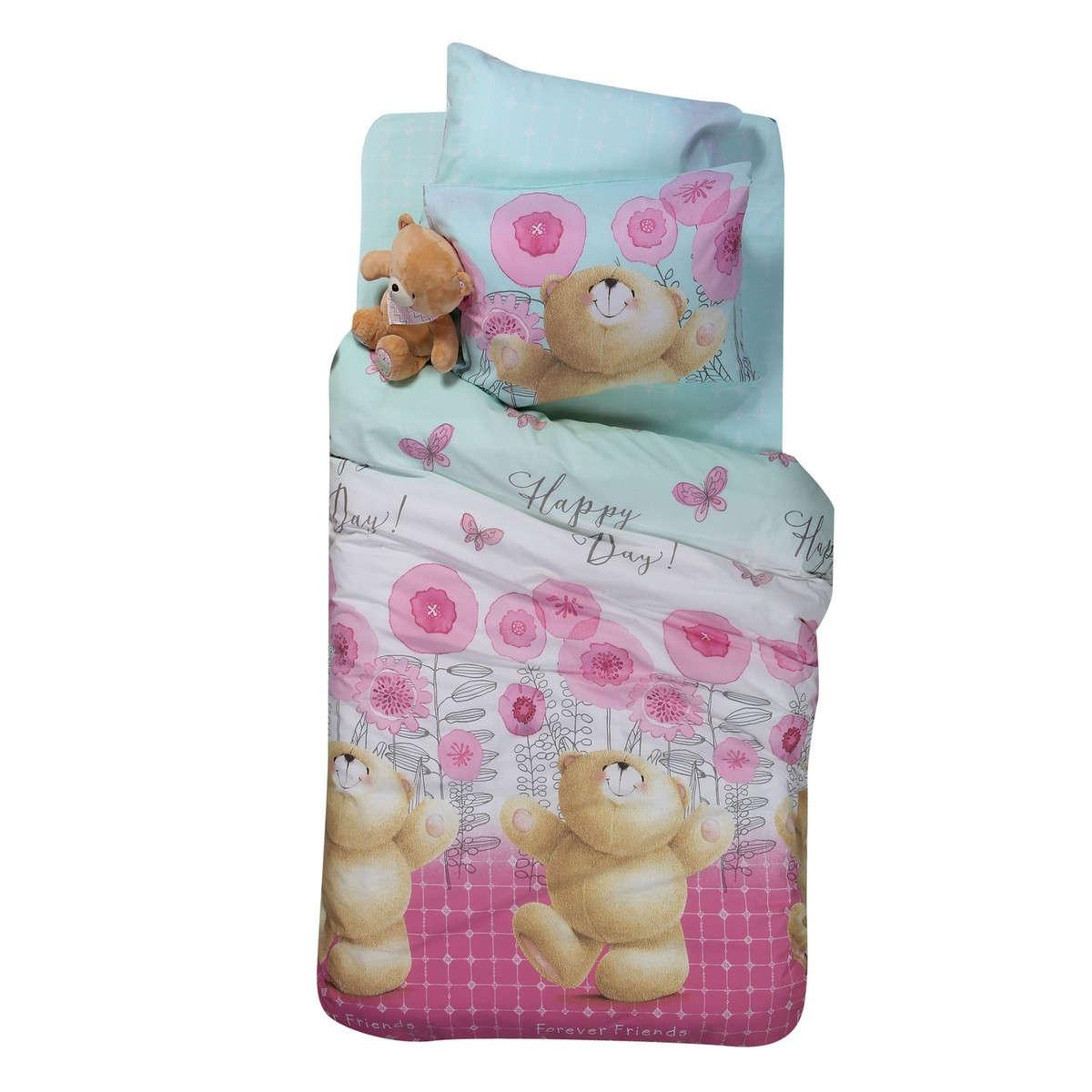Σεντόνι Παιδικό Forever Happy Day Σετ Pink Nef-Nef Μονό 160x260cm
