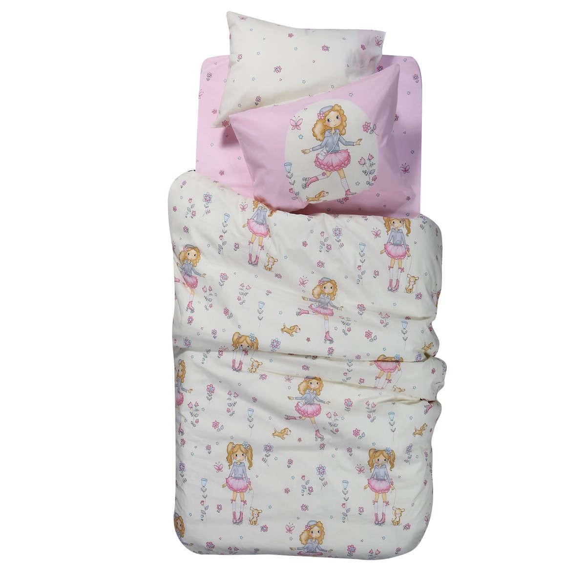 Σεντόνι Παιδικό Roller Girl Σετ Pink Nef-Nef Μονό 160x260cm