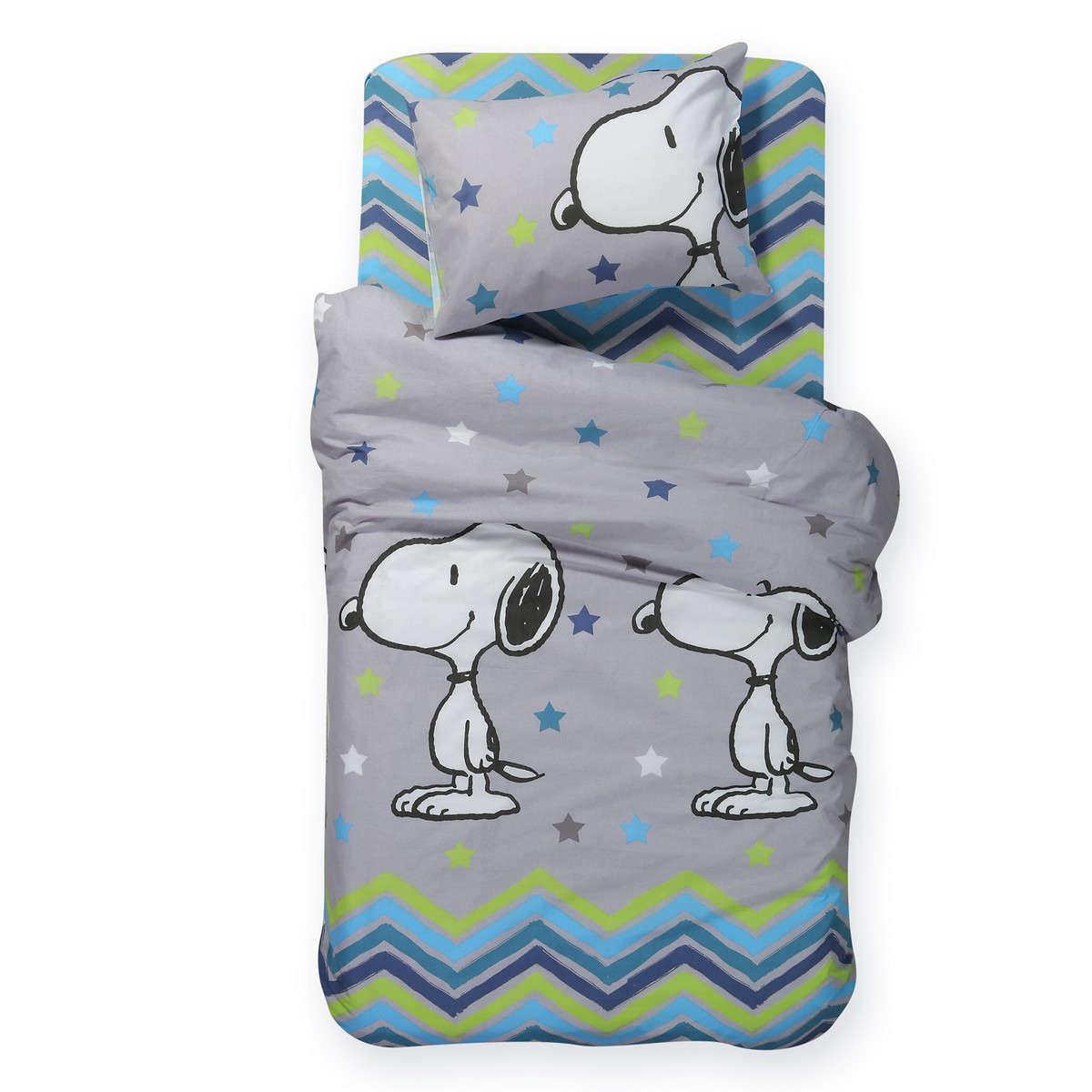 Σεντόνι Παιδικό Snoopy Mood Σετ Grey Nef-Nef Μονό 160x260cm