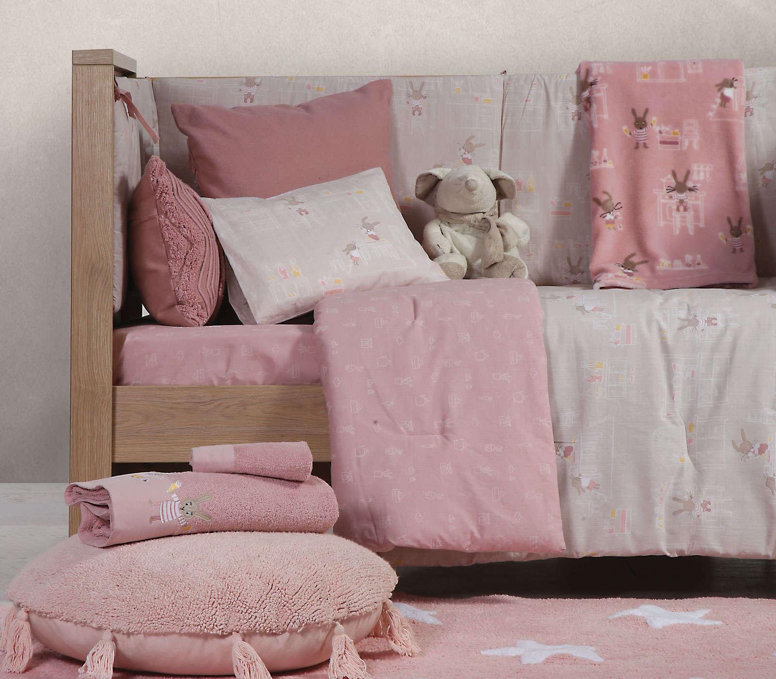 Σεντόνια Βρεφικά Σετ Rabbit In The House Pink-Grey Nef Nef Κούνιας 120x170cm