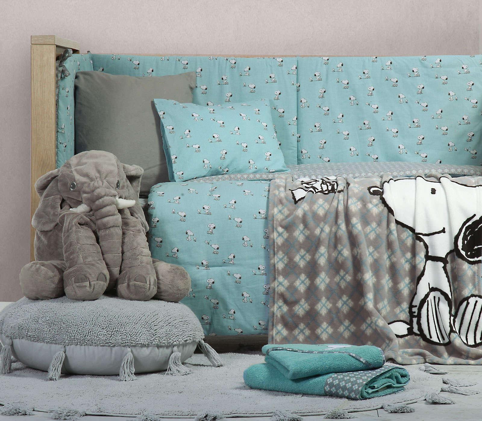 Σεντόνια Βρεφικά Σετ Snoopy Happiness Aqua Nef Nef Κούνιας 120x170cm
