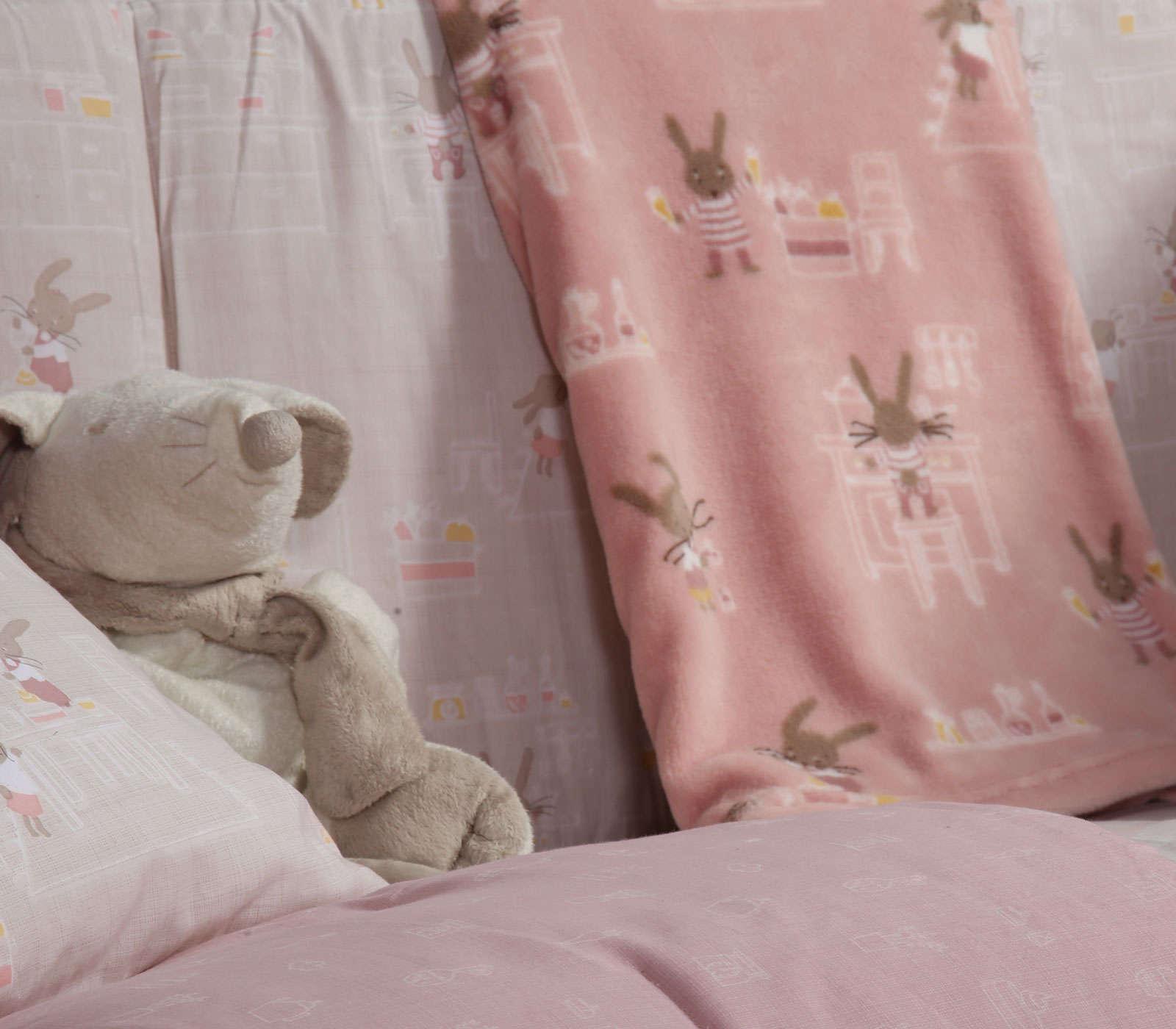 Κουβέρτα Βρεφική Fleece Rabbit In The House Pink Nef Nef Κούνιας 110x140cm