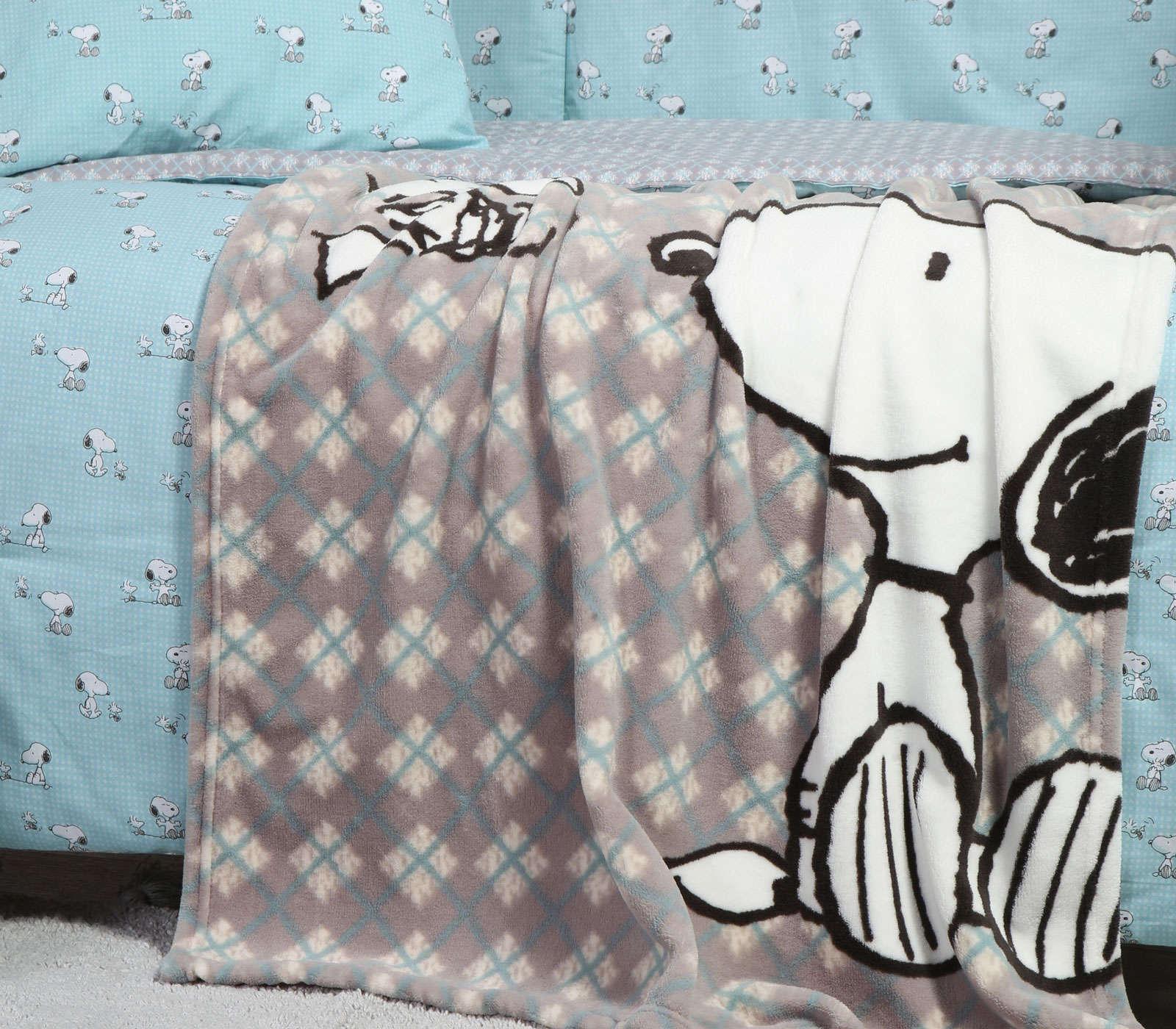 Κουβέρτα Βρεφική Fleece Snoopy Happiness Grey Nef Nef Κούνιας 110x140cm