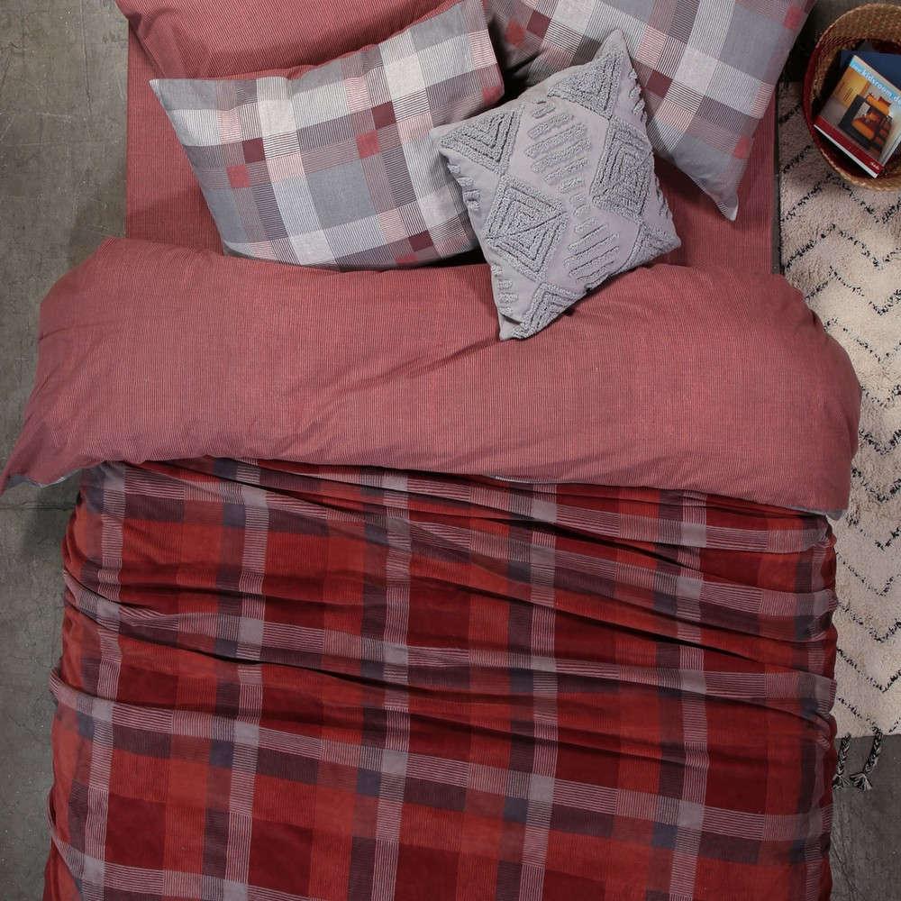 Κουβέρτα Fleece Plade Bordo Nef Nef Υπέρδιπλo 240x220cm