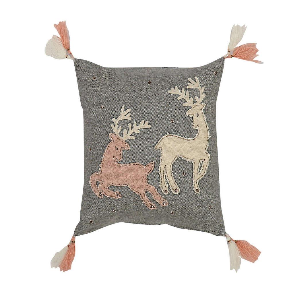 Μαξιλάρι Διακοσμητικό Happy Christmas (Deers) Grey (Με Γέμιση) Nef Nef 30X30
