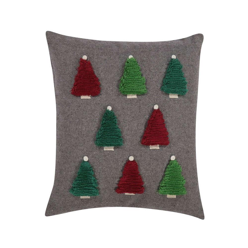 Μαξιλάρι Διακοσμητικό Christmas Spirit (Trees) Grey (Με Γέμιση) Nef Nef 45X45 45x45cm