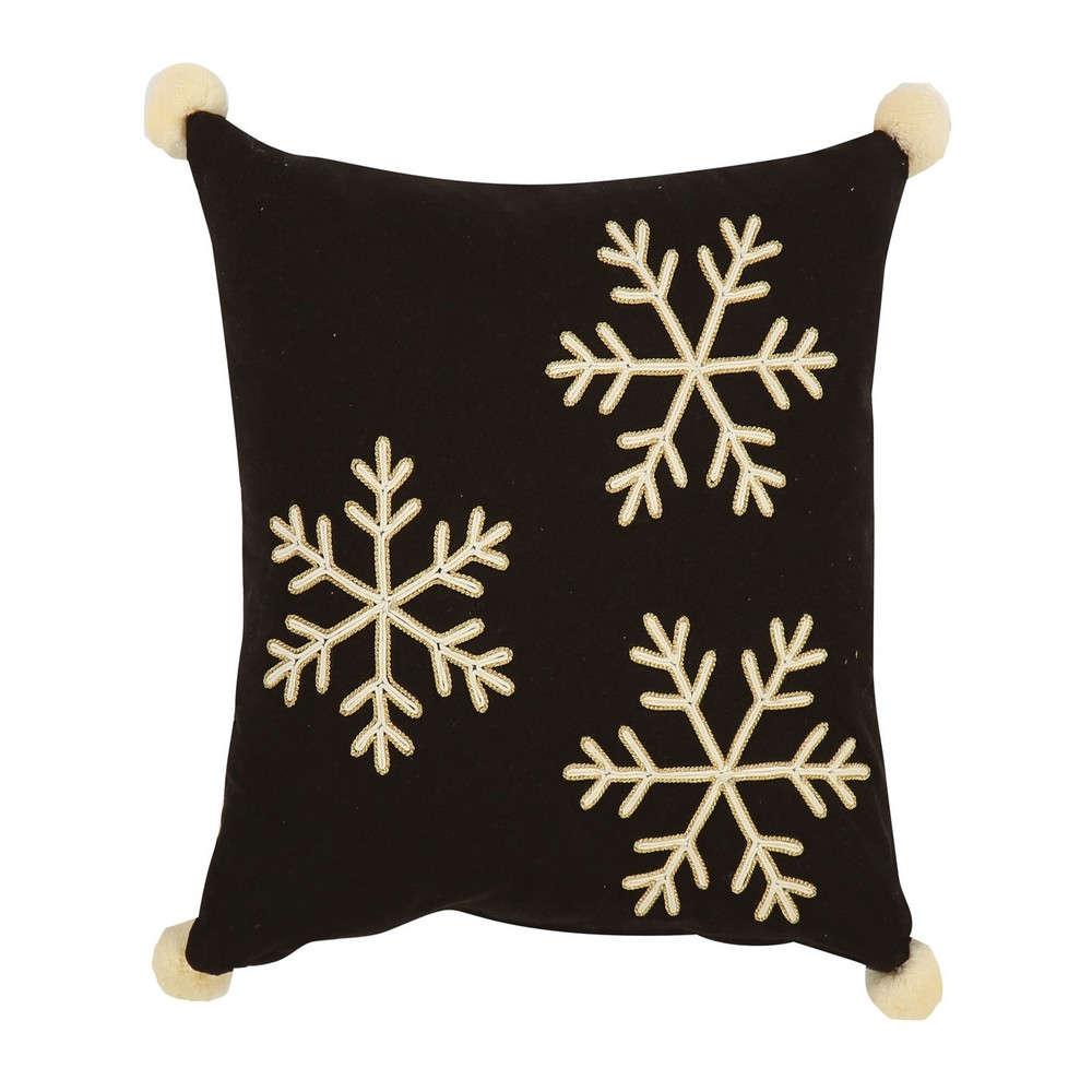 Μαξιλάρι Διακοσμητικό Merry (Snowflakes) Black-Beige (Με Γέμιση) Nef Nef 45X45 45x45cm