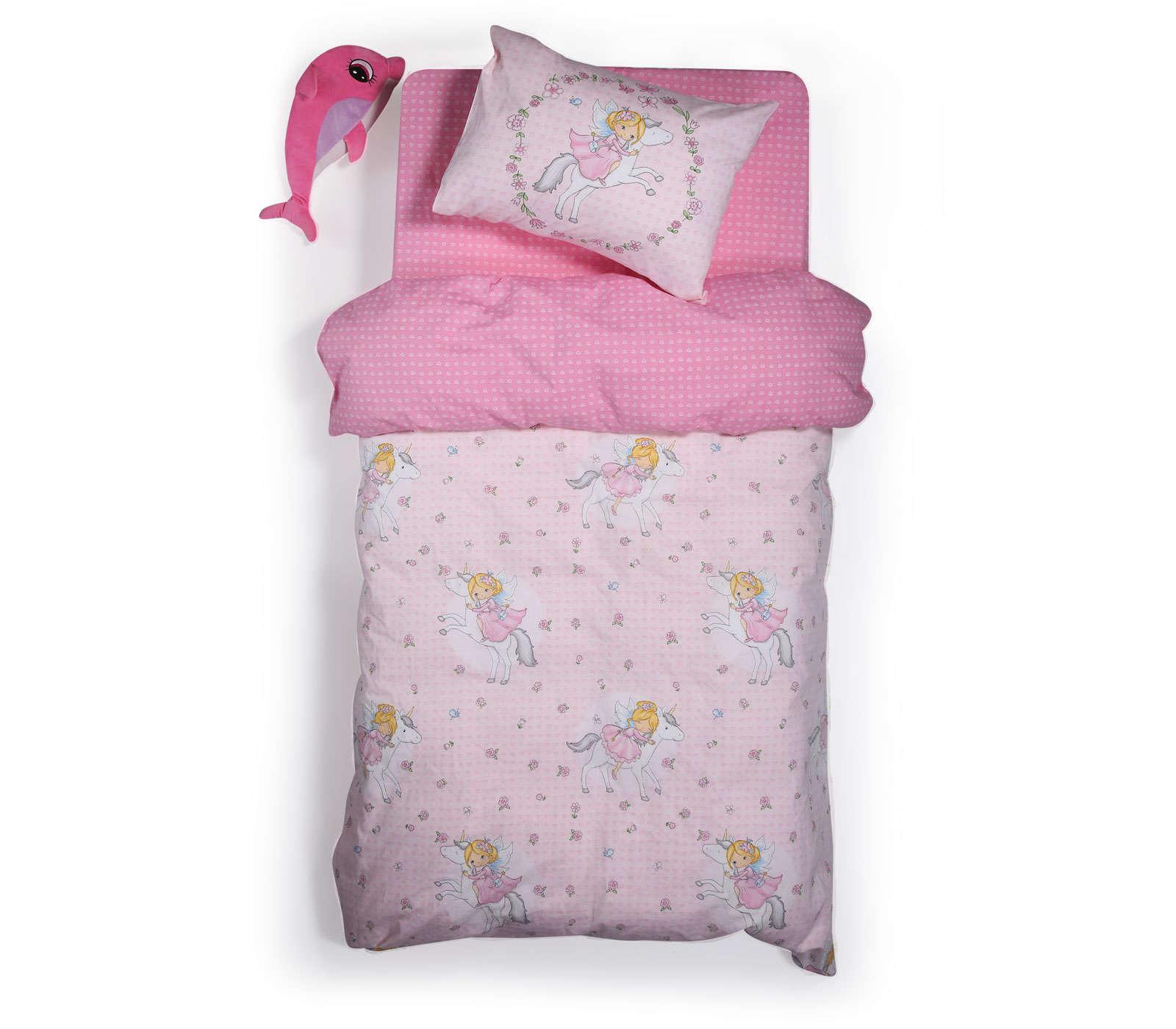 Σεντόνια Παιδικά Σετ I Love My Unicorn Pink Nef Nef Μονό 160x260cm