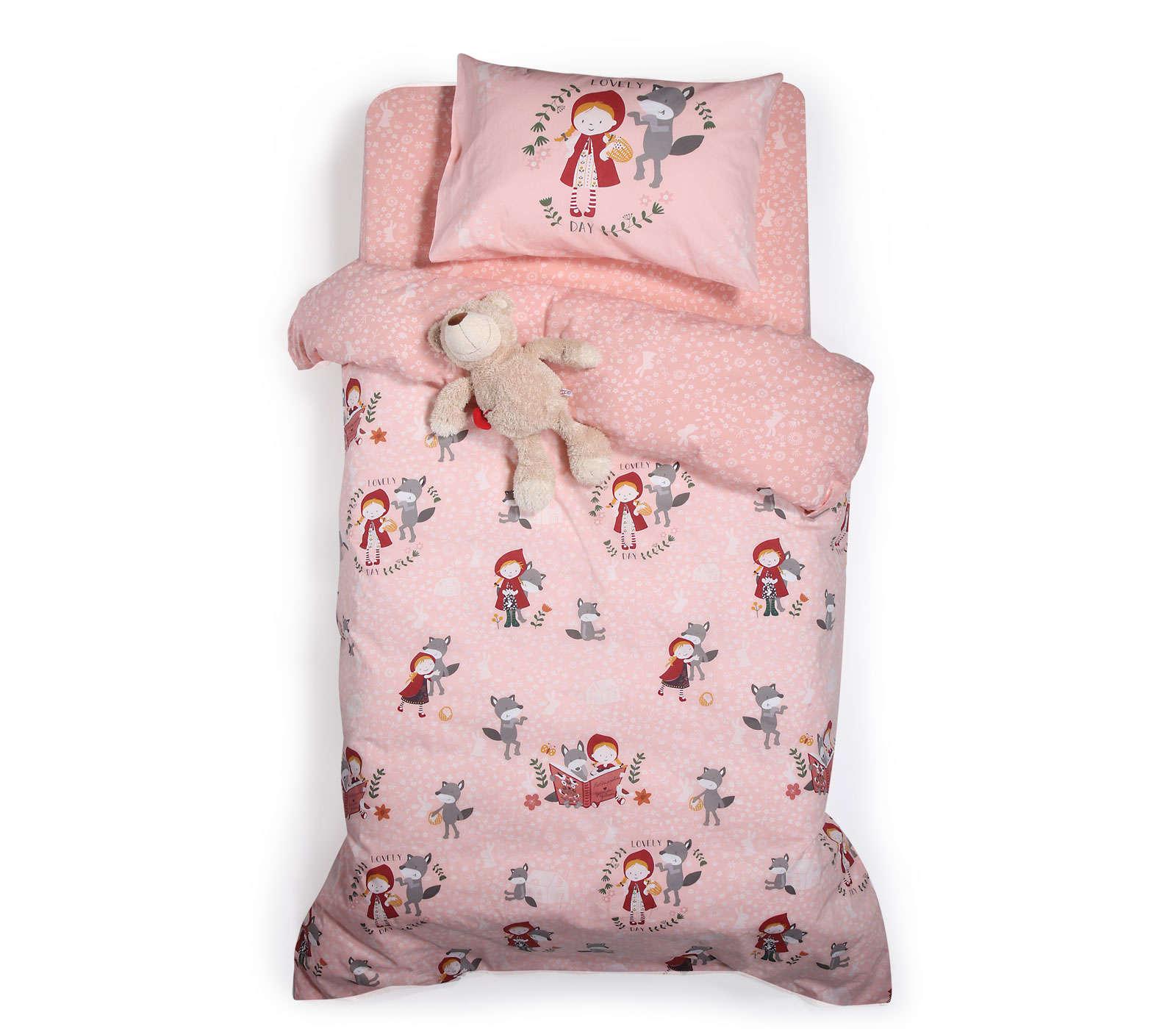 Σεντόνια Παιδικά Σετ 3τμχ Red Riding Hood Pink Nef Nef Μονό 160x260cm