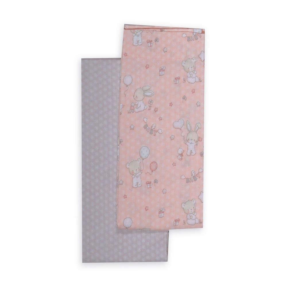 Σεντόνι 2 Τεμ. Play In My Room Grey-Pink Nef Nef Λίκνου 70x120cm