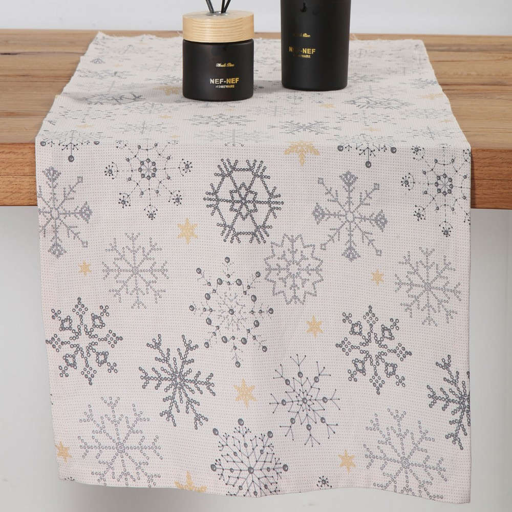 Τραβέρσα Golden Snowflakes White-Grey Nef Nef 40Χ150