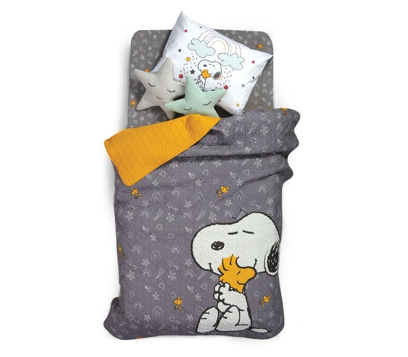 Κουβερλί Παιδικό Snoopy Rainbow Grey-Yellow Nef-Nef Μονό 160x220cm
