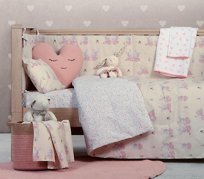 Σεντόνι Βρεφικό Bunny Ladies White-Pink Σετ 3τμχ White-Pink Nef-Nef Κούνιας 120x170cm