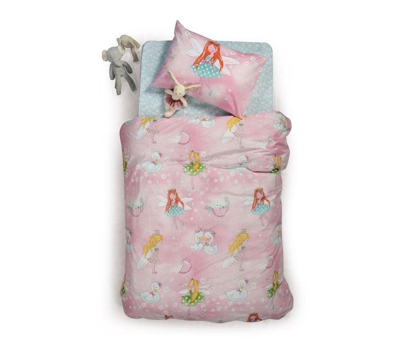 Σεντόνι Παιδικό Swan Love Σετ 3τμχ Pink Nef-Nef Μονό 160x260cm