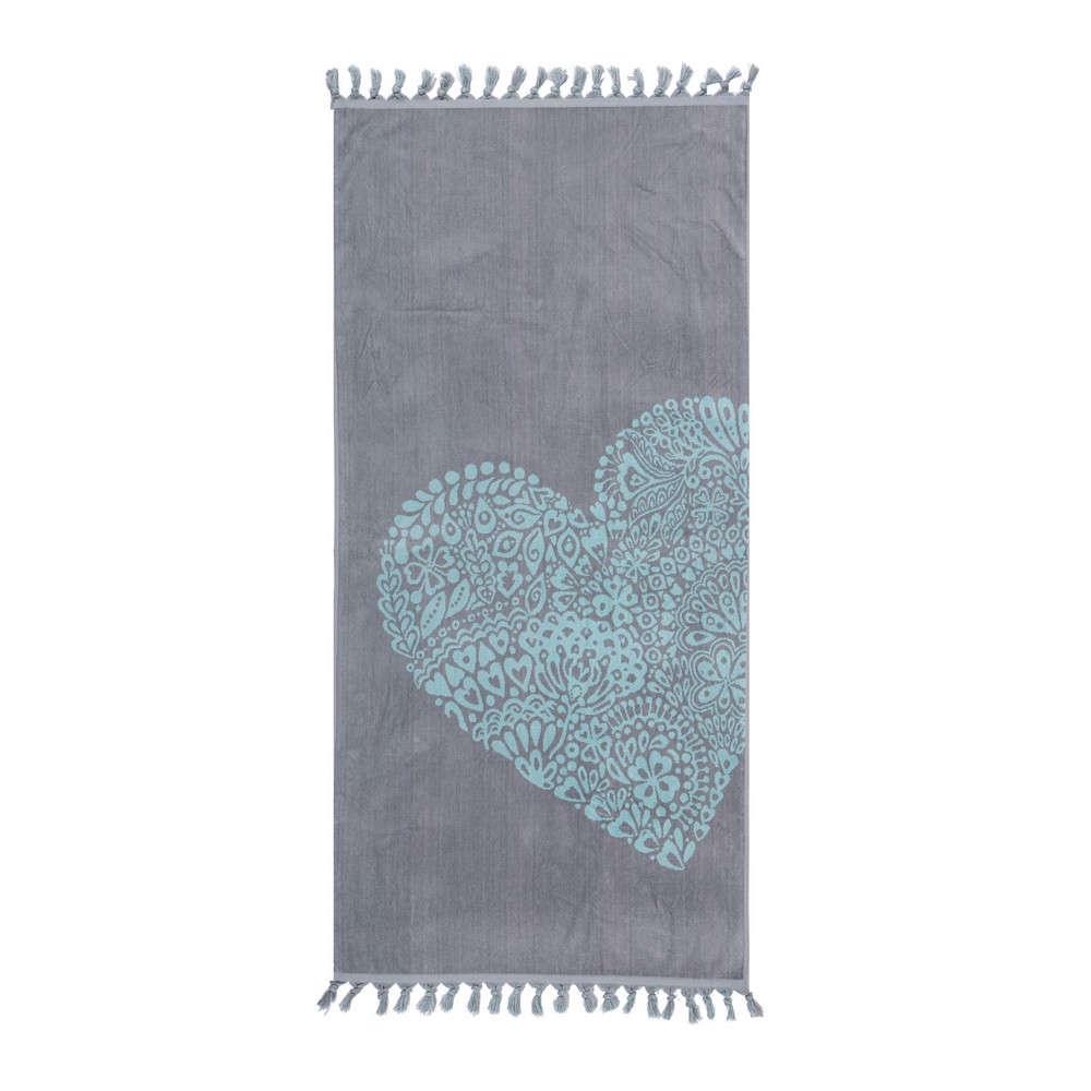 Πετσέτα Θαλάσσης Trendy Heart Grey Nef-Nef Θαλάσσης 80x160cm