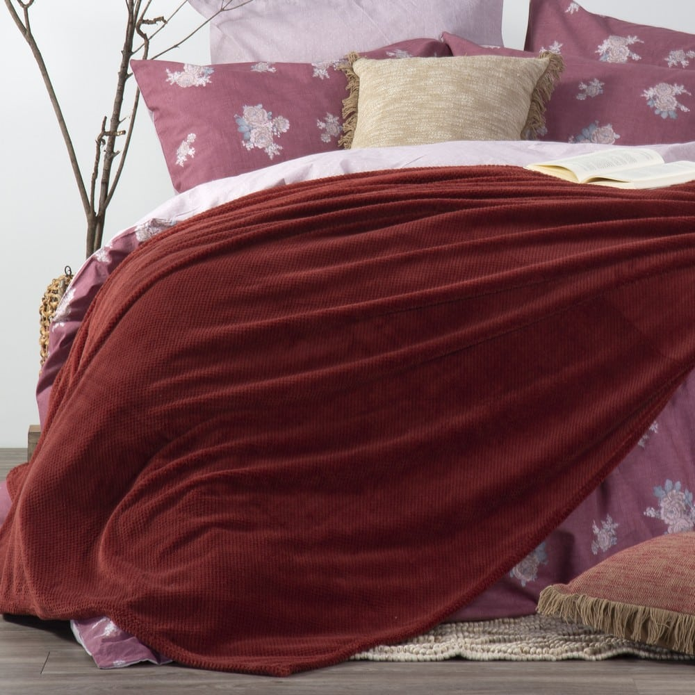 Κουβέρτα Fleece Record Bordo Nef-Nef Μονό 160x220cm