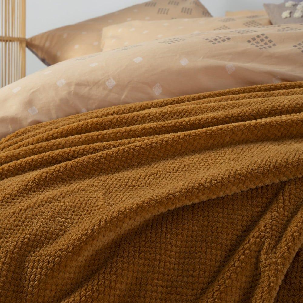 Κουβέρτα Fleece Record Mustard Nef-Nef Μονό 160x220cm