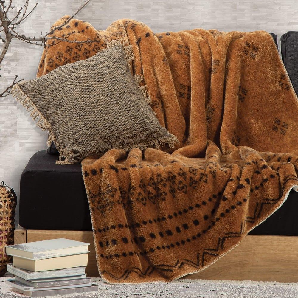 Ριχτάρι – Κουβέρτα Καναπέ Sherpa Ragnar Mustard Nef-Nef 150X180 130x170cm