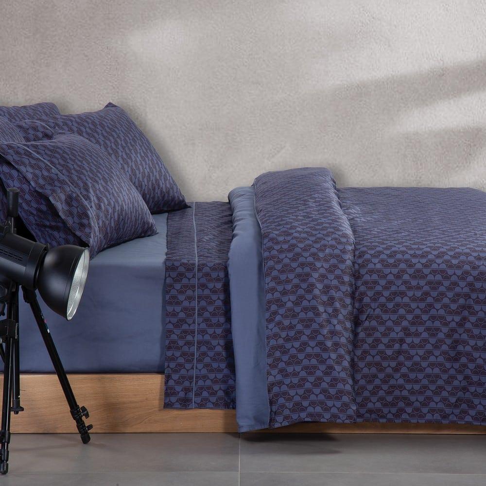 Παπλωματοθήκη Sebastian Σετ 3τμχ Blue Nef-Nef Υπέρδιπλo 240x230cm