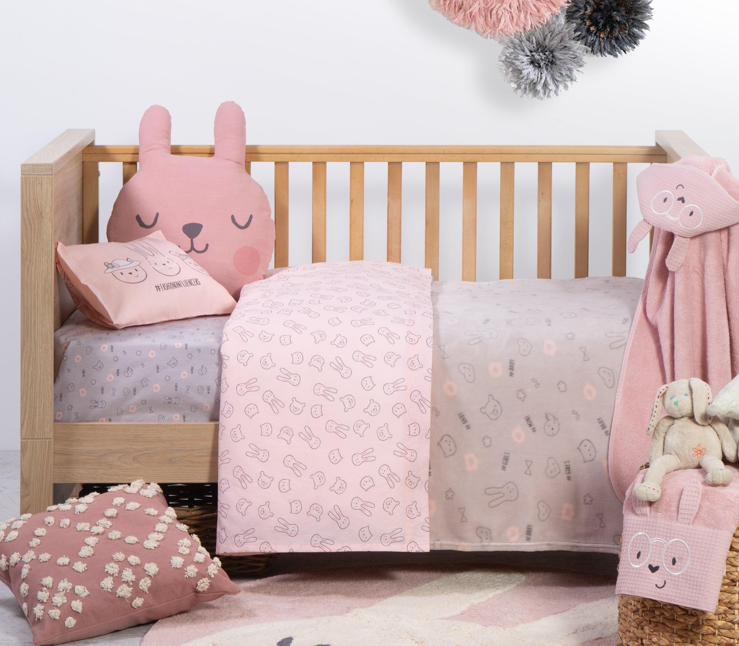 Σεντόνι Βρεφικό Fashion Baby Σετ 2τμχ Pink Nef-Nef Λίκνου 70x120cm